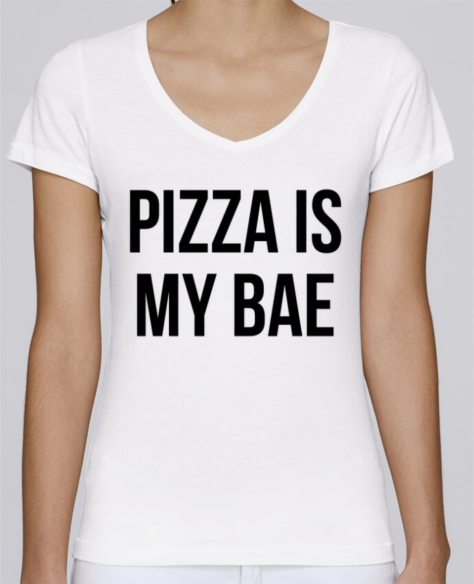 T-Shirt V-Neck Women Stella Chooses Pizza is my BAE by Bichette