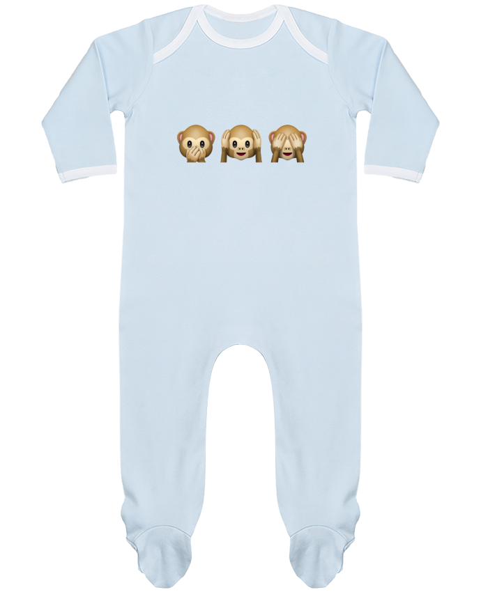 Baby Sleeper long sleeves Contrast Three monkeys by Bichette