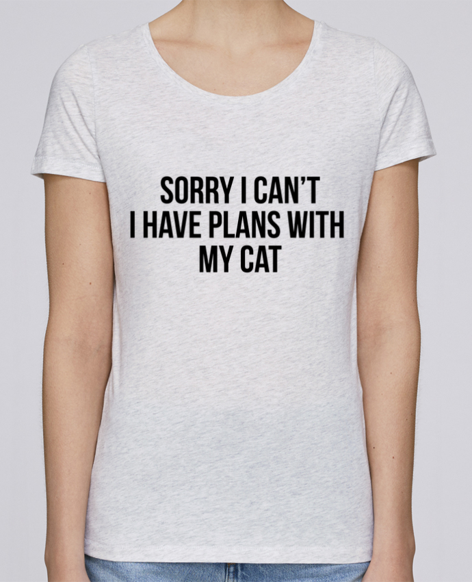 T-shirt Women Stella Loves Sorry I can't I have plans with my cat by Bichette