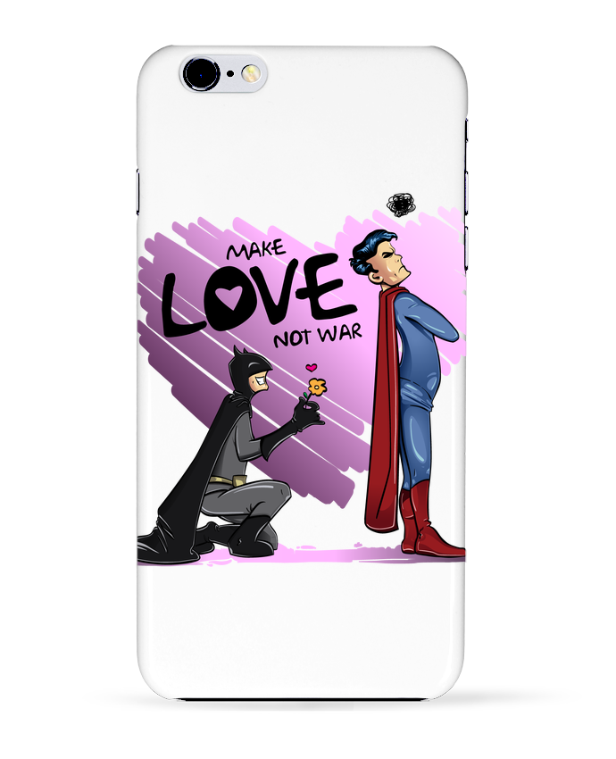 Case 3D iPhone 6+ MAKE LOVE NOT WAR (BATMAN VS SUPERMAN) de teeshirt-design.com
