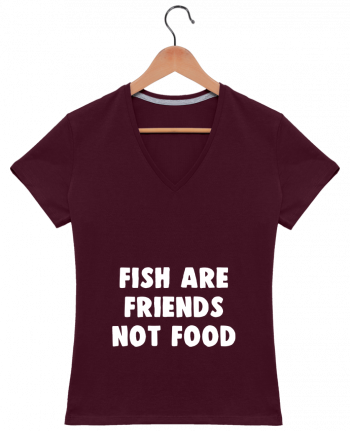 T-Shirt V-Neck Women Fish are firends not food by Bichette