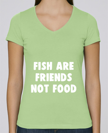 T-Shirt V-Neck Women Stella Chooses Fish are firends not food by Bichette