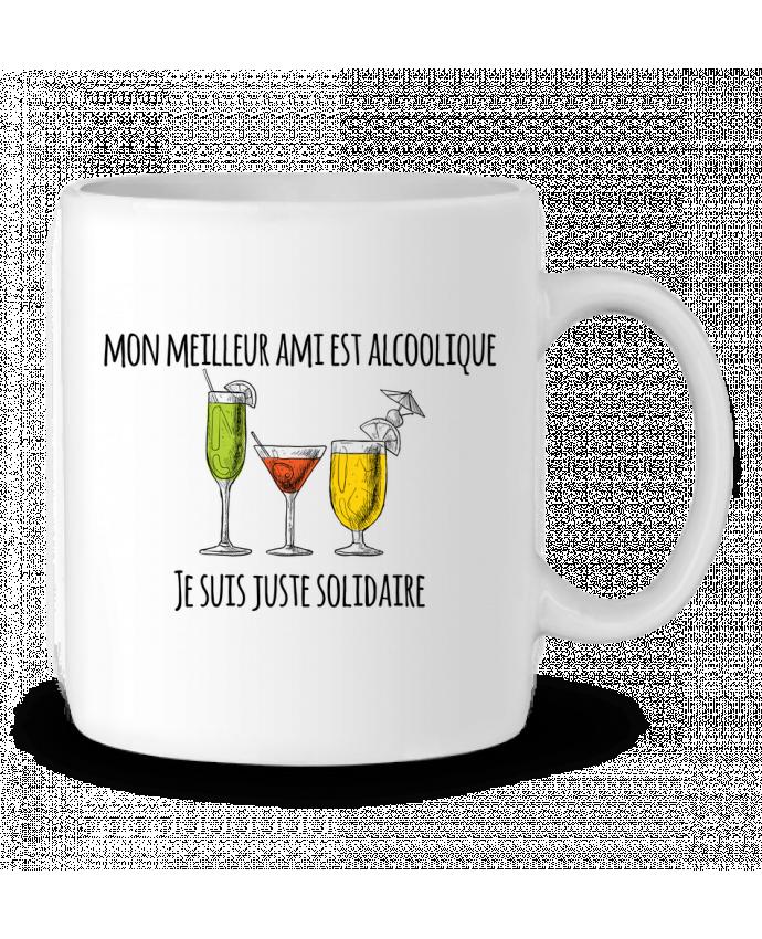 Ceramic Mug Mon meilleur ami est alcoolique et je suis juste solidaire by tunetoo