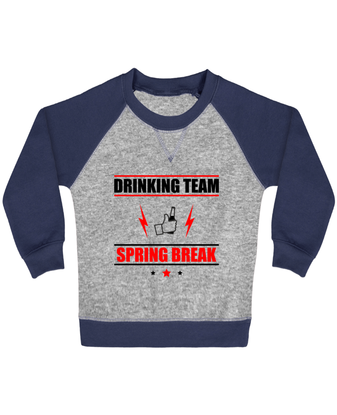 Sweatshirt Baby crew-neck sleeves contrast raglan Drinking Team Spring Break by Benichan