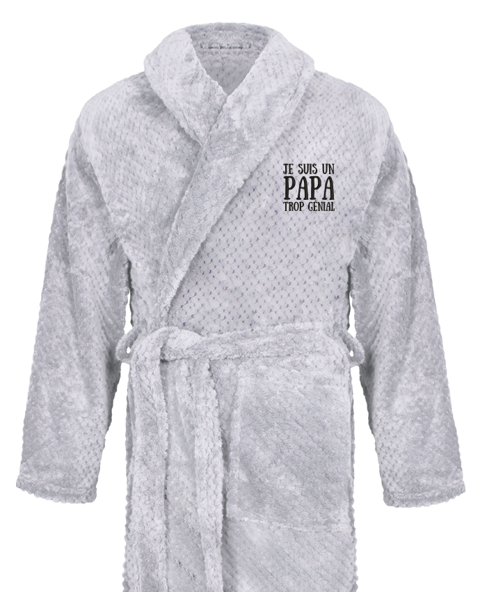 Bathrobe Men Soft Coral Fleece Je suis un papa trop génial by tunetoo