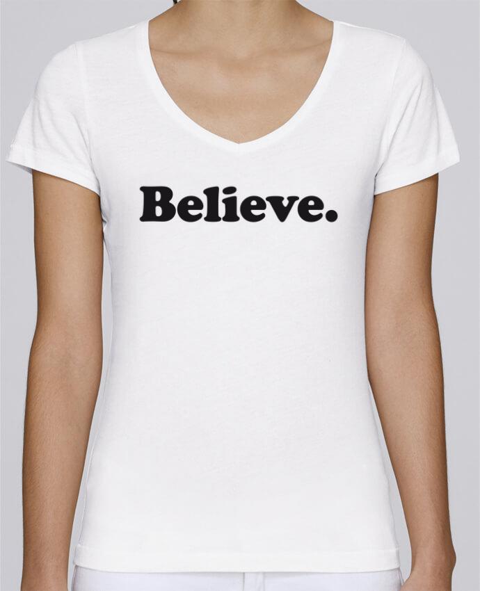 T-Shirt V-Neck Women Stella Chooses Believe by justsayin
