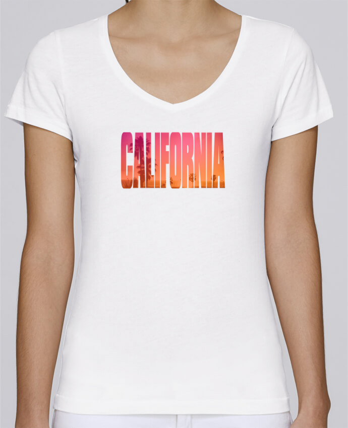 T-Shirt V-Neck Women Stella Chooses California by justsayin