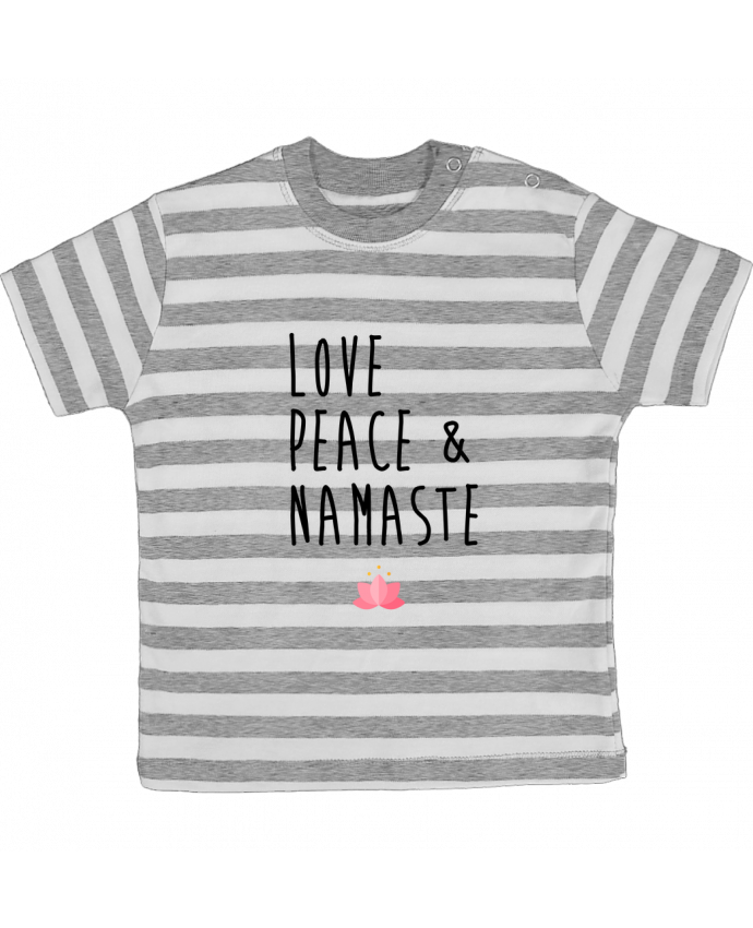 T-shirt baby with stripes Love, Peace & Namaste by tunetoo
