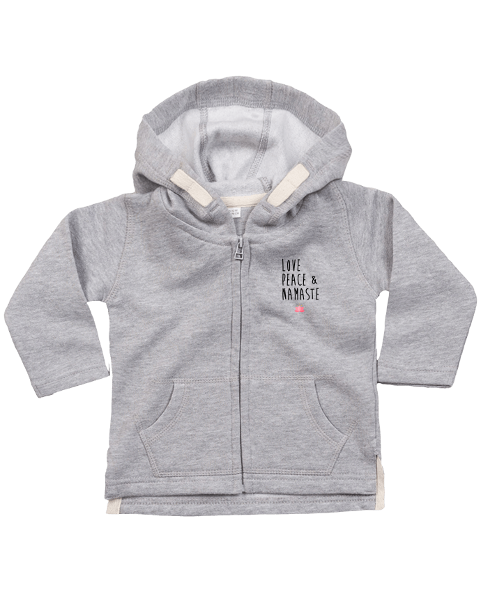 Hoddie with zip for baby Love, Peace & Namaste by tunetoo