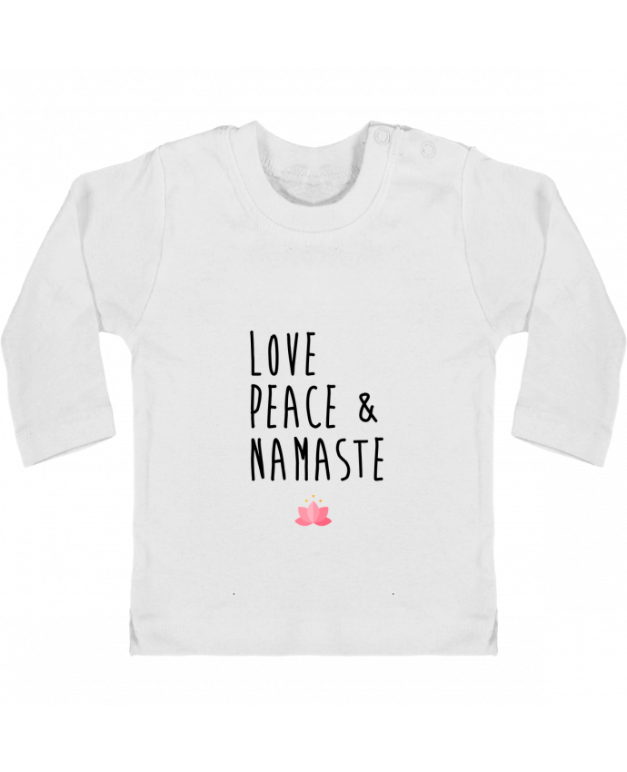 Baby T-shirt with press-studs long sleeve Love, Peace & Namaste manches longues du designer tunetoo