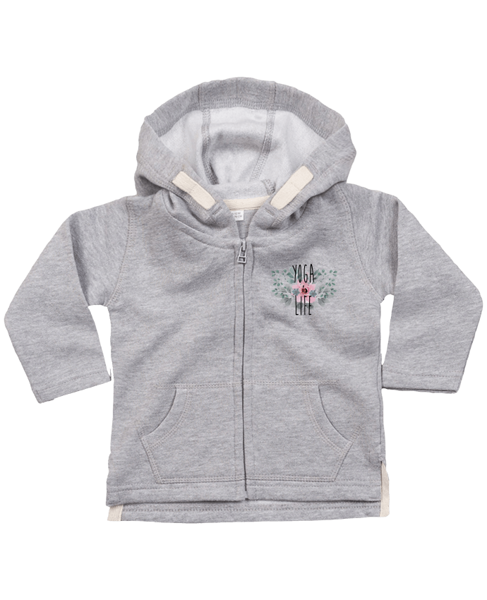 Hoddie with zip for baby Yoga is life by tunetoo