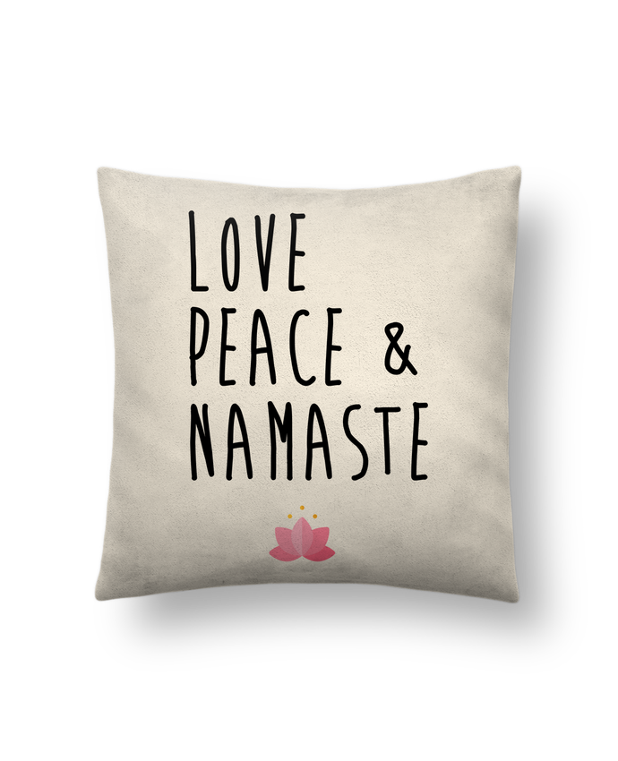 Cushion suede touch 45 x 45 cm Love, Peace & Namaste by tunetoo
