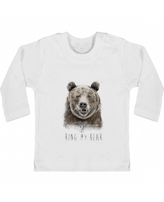 Baby T-shirt with press-studs long sleeve Ring my bear manches longues du designer Balàzs Solti