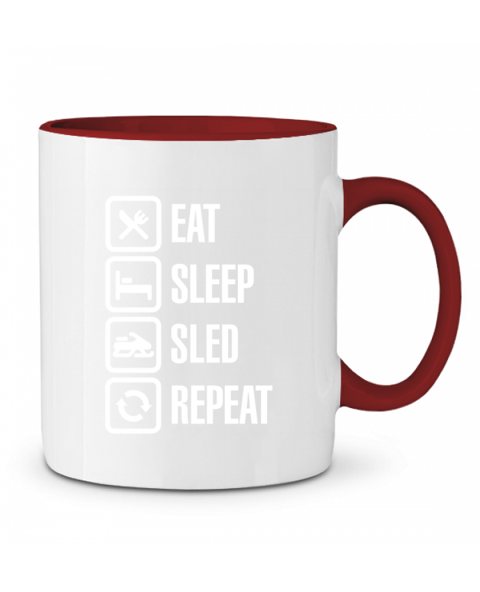 Two-tone Ceramic Mug Eat, sleep, sled, repeat LaundryFactory