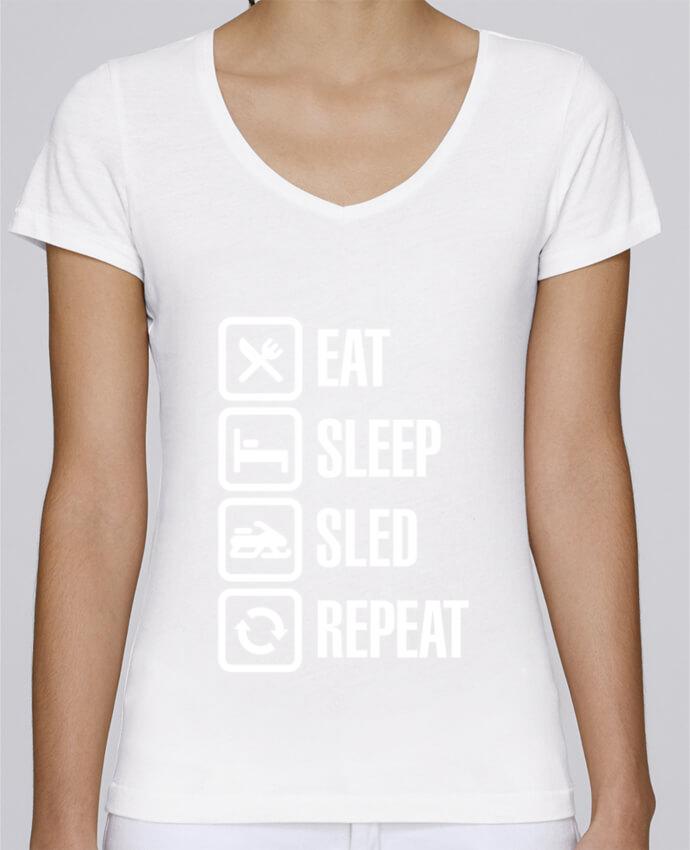 T-Shirt V-Neck Women Stella Chooses Eat, sleep, sled, repeat by LaundryFactory