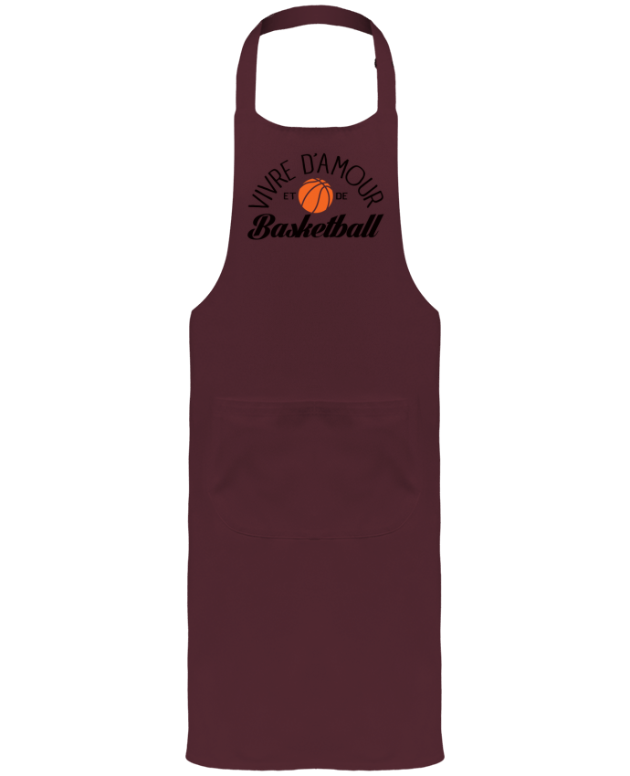 Garden or Sommelier Apron with Pocket Vivre d'Amour et de Basketball by Freeyourshirt.com