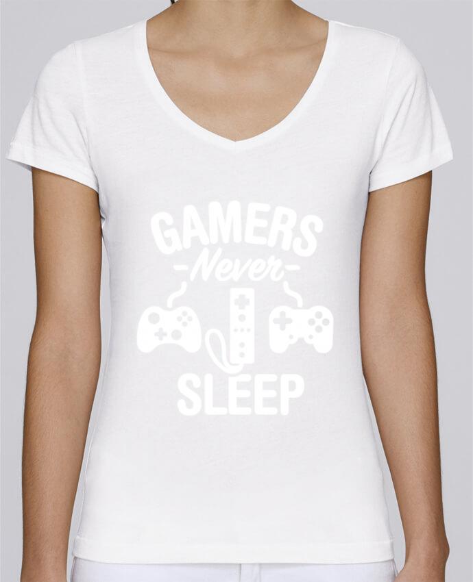 T-Shirt V-Neck Women Stella Chooses Gamers never sleep by LaundryFactory