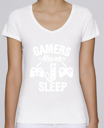 T-Shirt V-Neck Women Stella Chooses Gamers never sleep by LaundryFactory