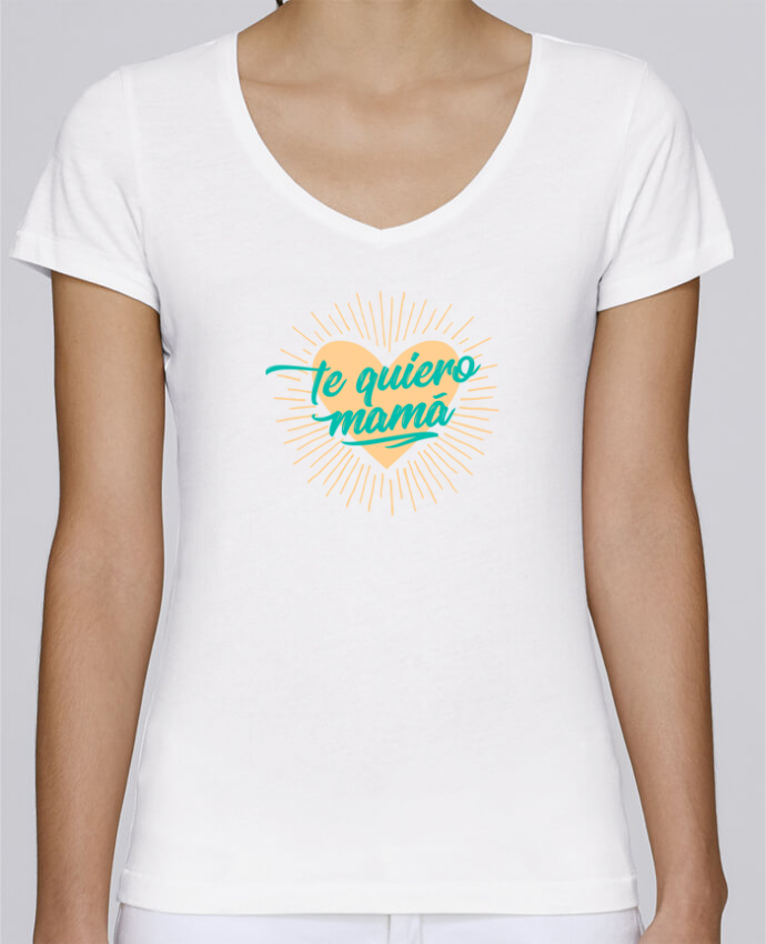 T-Shirt V-Neck Women Stella Chooses te quiero mamá by tunetoo