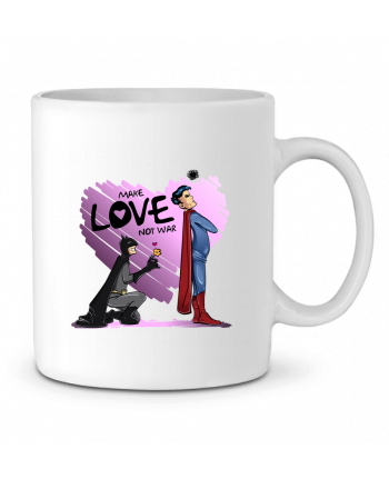 Ceramic Mug MAKE LOVE NOT WAR (BATMAN VS SUPERMAN) by teeshirt-design.com
