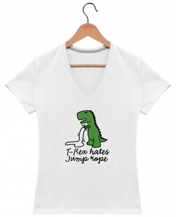T-Shirt V-Neck Women TREX HATES JUMP ROPE by LaundryFactory