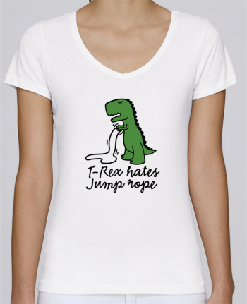 T-Shirt V-Neck Women Stella Chooses TREX HATES JUMP ROPE by LaundryFactory