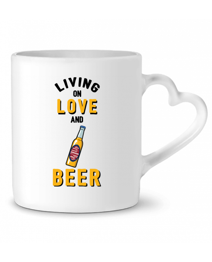 Mug Heart Living on love and beer by tunetoo