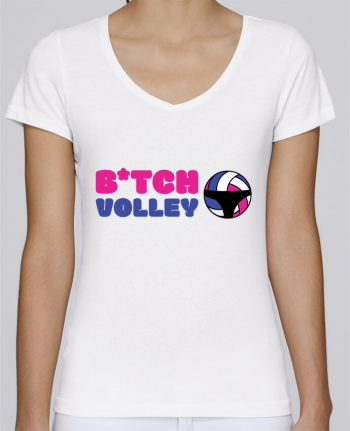 T-Shirt V-Neck Women Stella Chooses B*tch volley by tunetoo