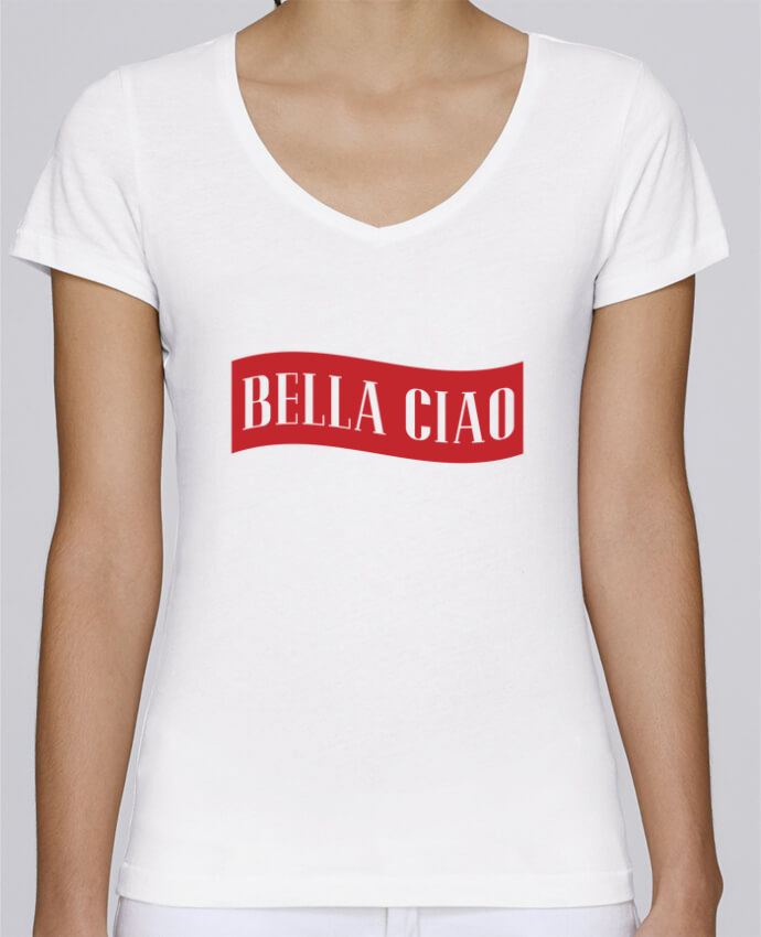 T-Shirt V-Neck Women Stella Chooses BELLA CIAO by tunetoo