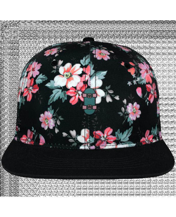 Snapback Cap Black Floral crown pattern Skate bleu brodé avec toile motif à fleurs 100% polyester et visière