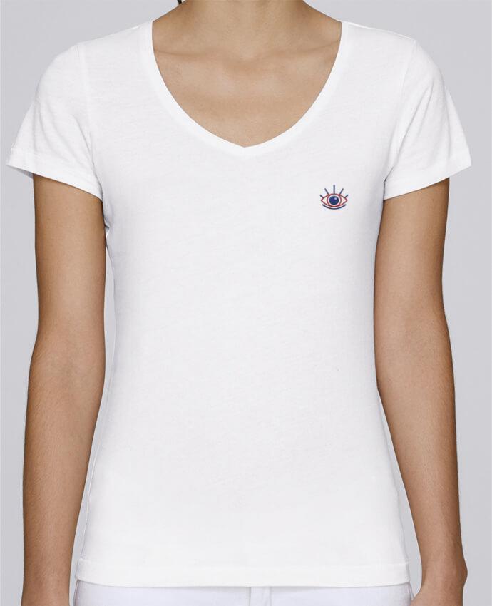 T-shirt femme brodé Stella Chooses Oeil by tunetoo