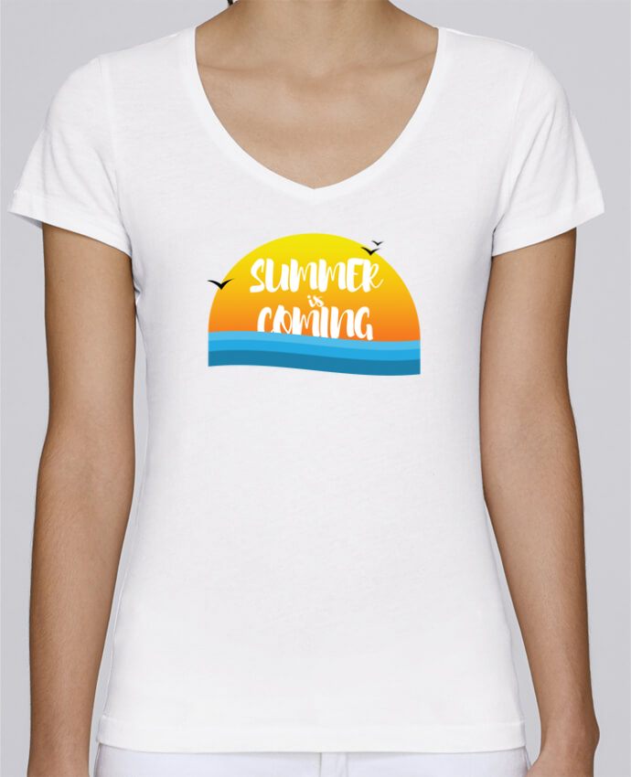 T-Shirt V-Neck Women Stella Chooses Summer is coming by tunetoo
