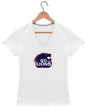T-Shirt V-Neck Women Go Lions by tunetoo
