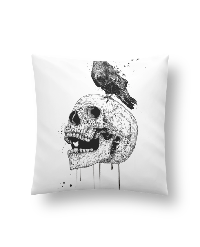 Cushion synthetic soft 45 x 45 cm New skull (bw) by Balàzs Solti