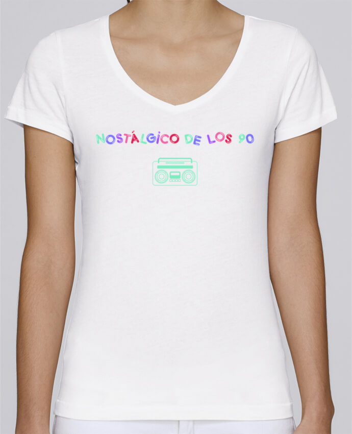 T-Shirt V-Neck Women Stella Chooses Nostálgico de los 90 Radio by tunetoo