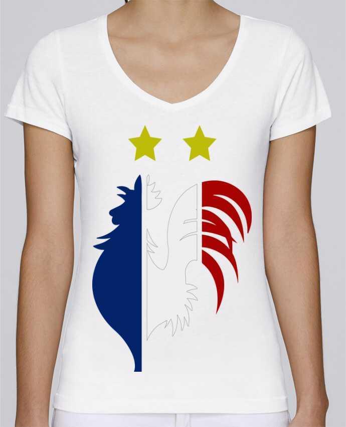 T-Shirt V-Neck Women Stella Chooses Champion du monde 2018 ! by AkenGraphics