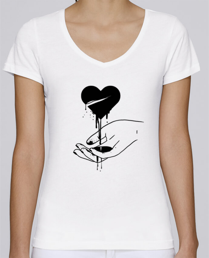 T-Shirt V-Neck Women Stella Chooses COeur qui coule by tattooanshort
