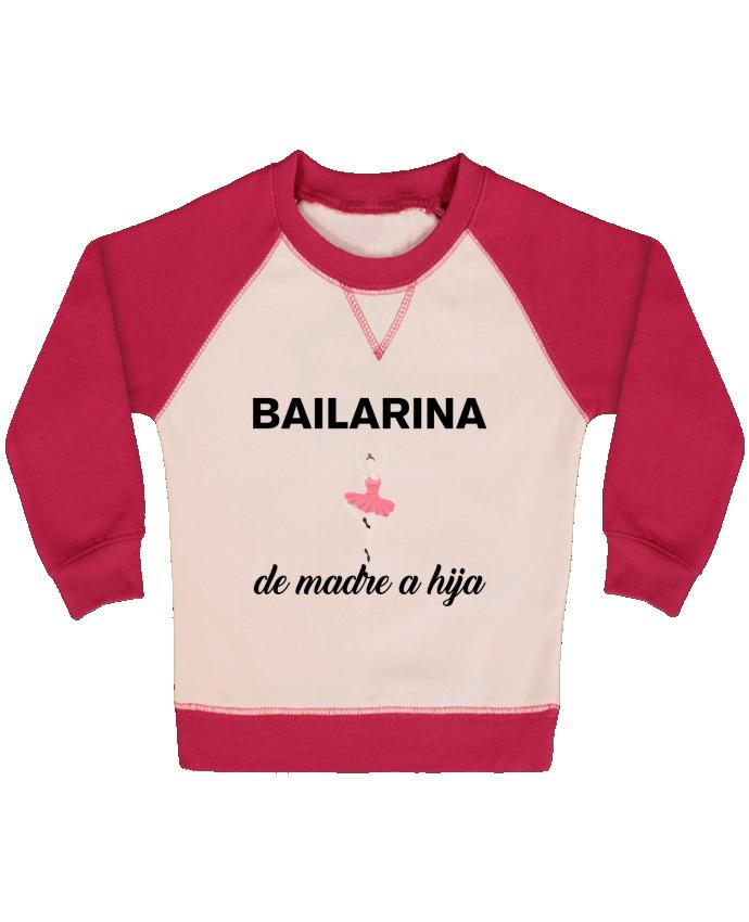 Sweatshirt Baby crew-neck sleeves contrast raglan Bailarina de madre a hijo by tunetoo
