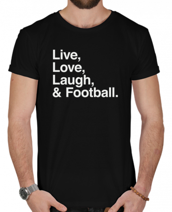 T-Shirt Men 180g Live Love Laugh and football - white by justsayin