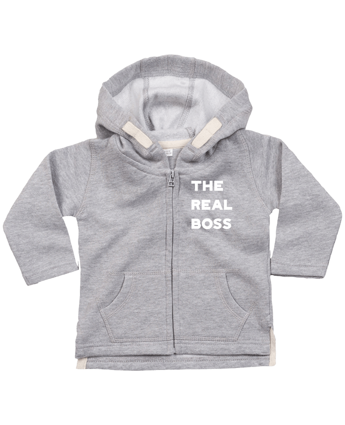 Hoddie with zip for baby The real boss by Original t-shirt