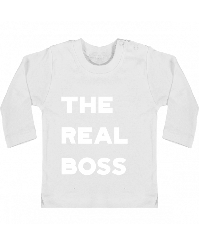 Baby T-shirt with press-studs long sleeve The real boss manches longues du designer Original t-shirt