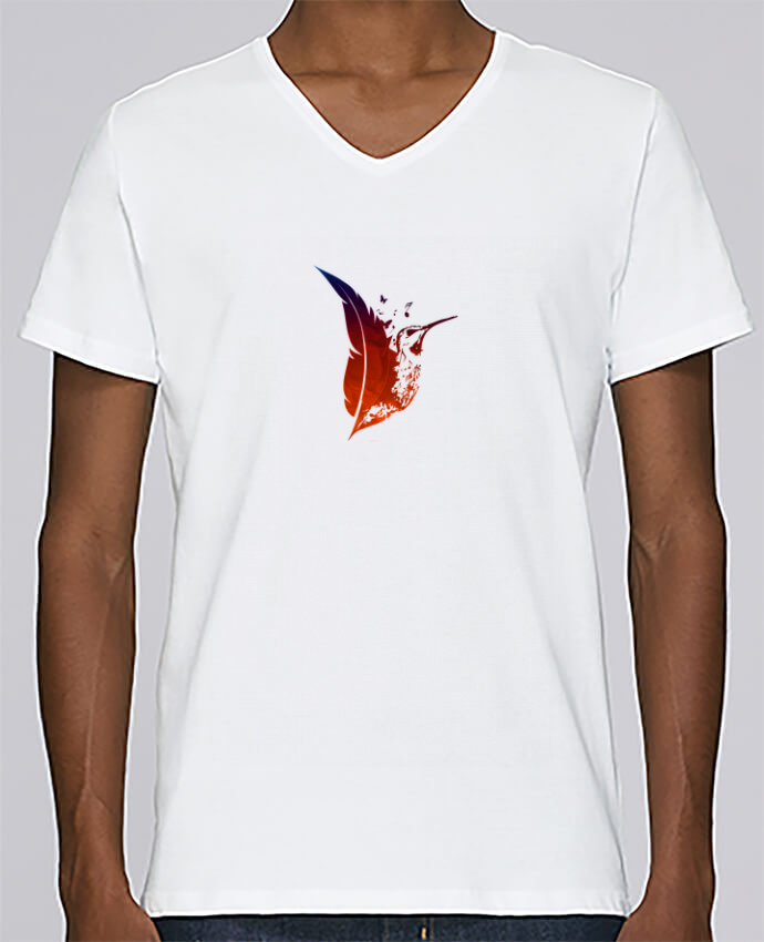 T-shirt V-neck Men Stanley Relaxes plume colibri by Studiolupi
