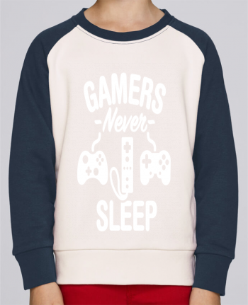 Sweatshirt Kids Round Neck Stanley Mini Contrast Gamers never sleep by LaundryFactory