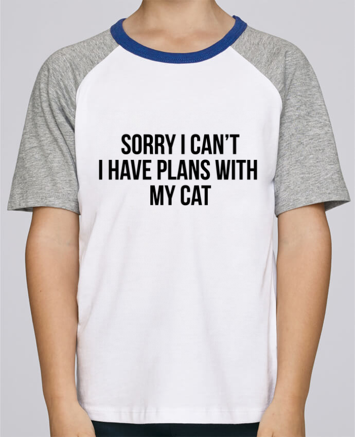Tee-Shirt Child Short Sleeve Stanley Mini Jump Sorry I can't I have plans with my cat by Bichette