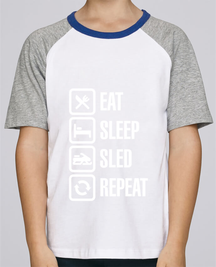Tee-Shirt Child Short Sleeve Stanley Mini Jump Eat, sleep, sled, repeat by LaundryFactory