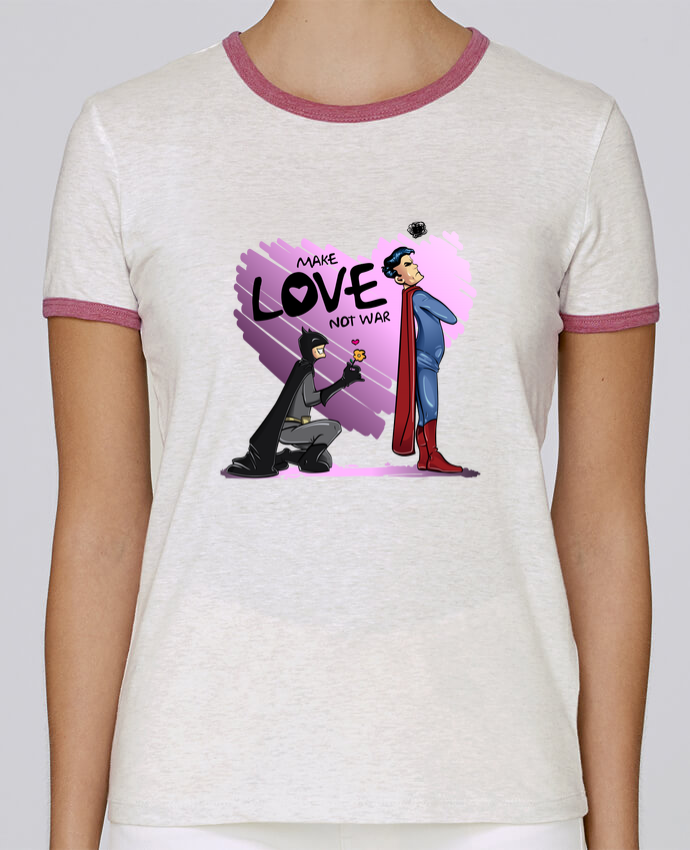 T-shirt Women Stella Returns MAKE LOVE NOT WAR (BATMAN VS SUPERMAN) pour femme by teeshirt-design.com
