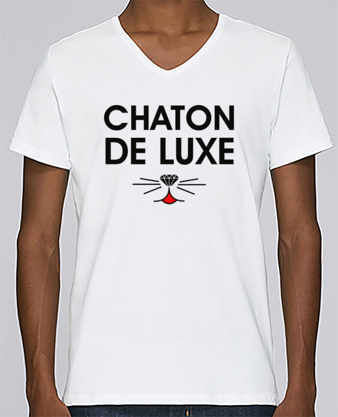 T-shirt V-neck Men Stanley Relaxes Chaton de luxe by tunetoo
