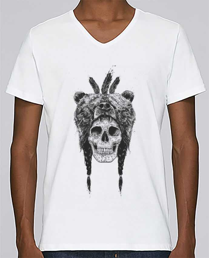 T-shirt V-neck Men Stanley Relaxes Dead Shaman by Balàzs Solti