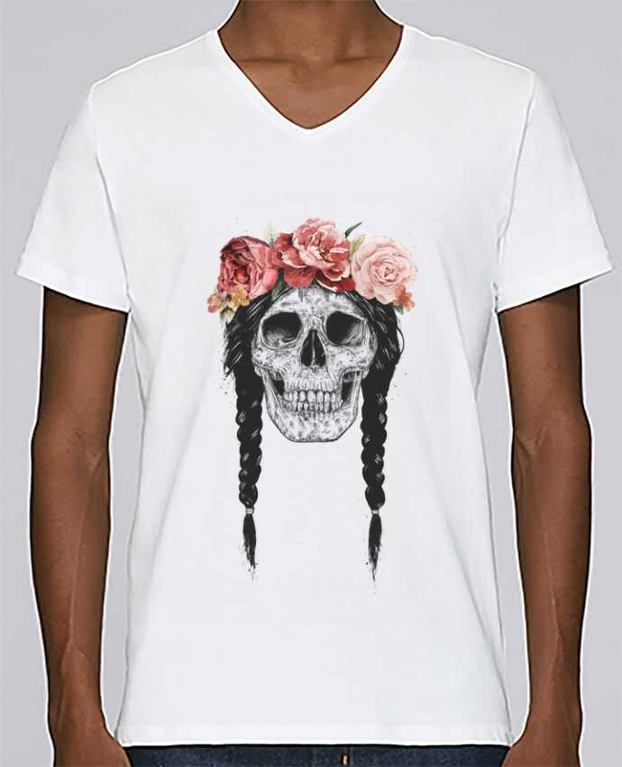 T-shirt V-neck Men Stanley Relaxes Festival Skull by Balàzs Solti