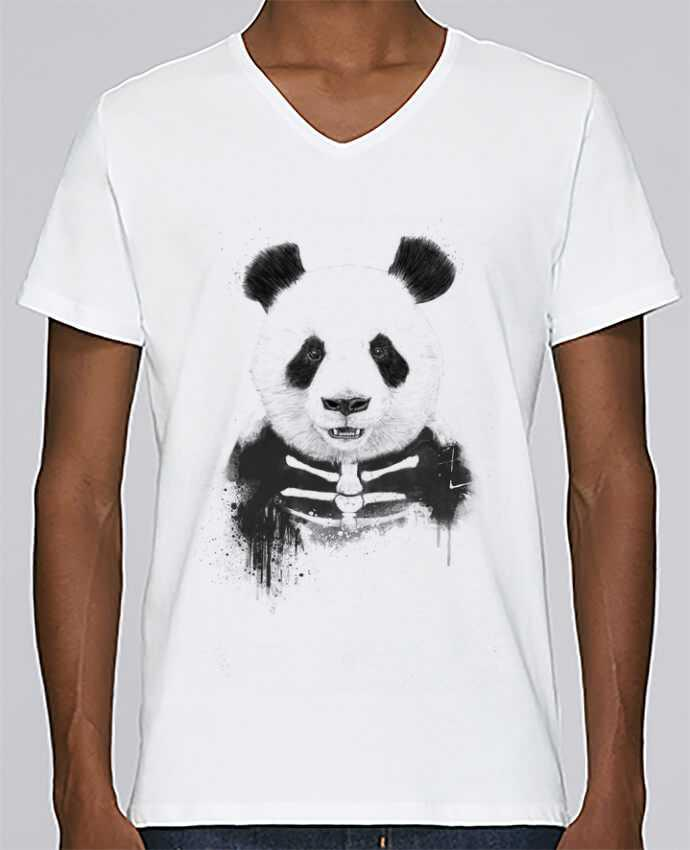 T-shirt V-neck Men Stanley Relaxes Zombie Panda by Balàzs Solti